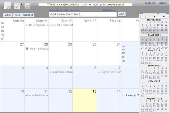 30 boxes Online Calendar