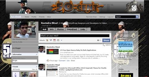 50 Cent inspired facebook theme