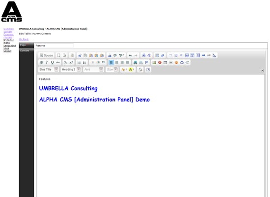 ALPHA CMS - API-free MVC based CMS