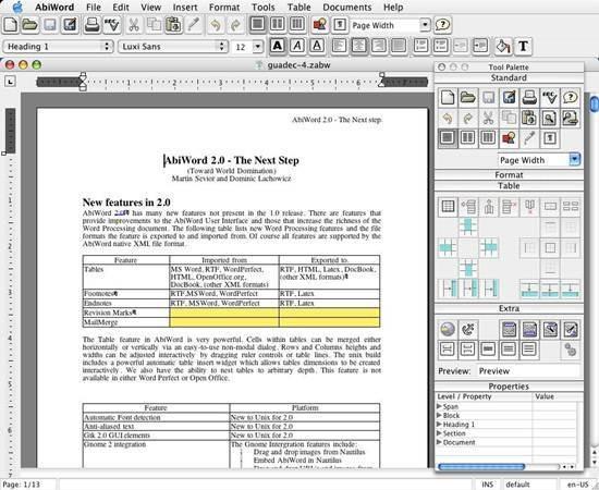 AbiWord - open source word processing program