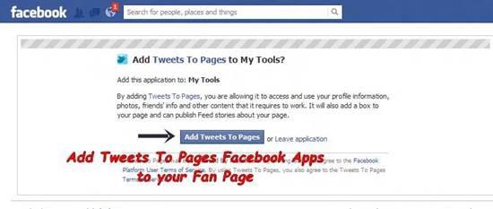 Add Twitter Tab to Facebook Fan Page