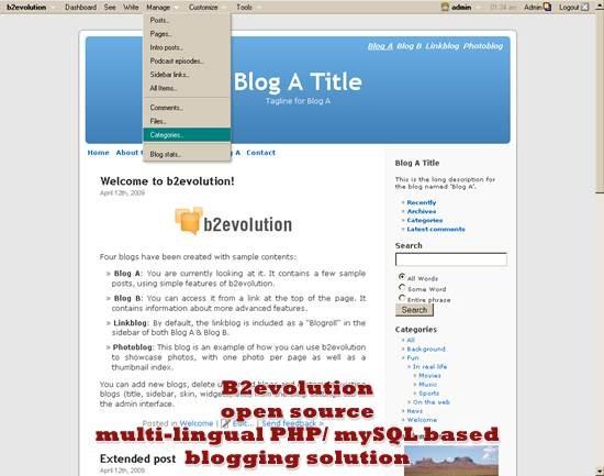 B2evolution - multi-lingual PHP/ mySQL based blogging solution