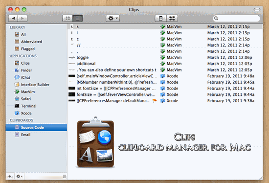 Clips clipboard manager