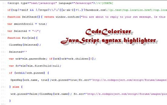 CodeColorizer 11 useful JavaScript syntax highlighter