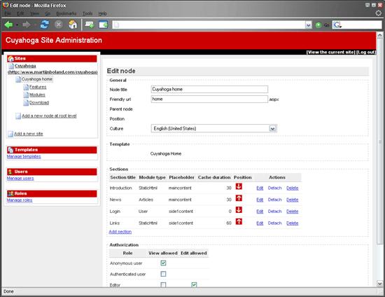 Cuyahoga CMS - ASP.NET site framework