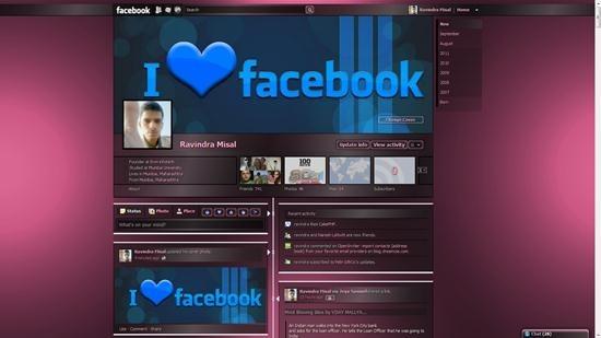 Dark Shiny pink Transparency theme for facebook timeline profile