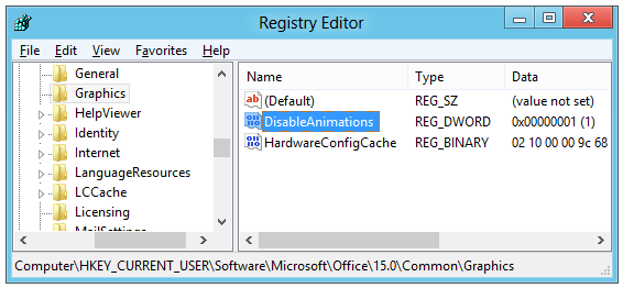 Disable Typing Animations in Office 2013
