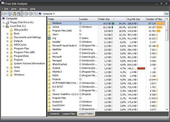 DiskAnalyzer - disk space analyzer for windows