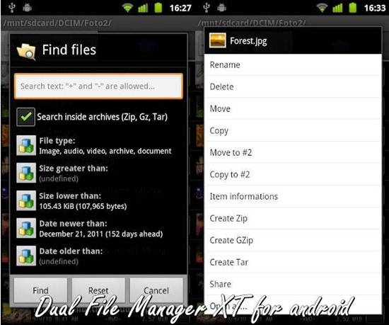 Dual file manager for Android