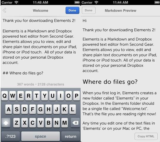Elements For Dropbox Text Editors for iPhone