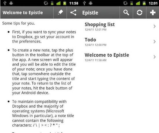 Epistle android text editor