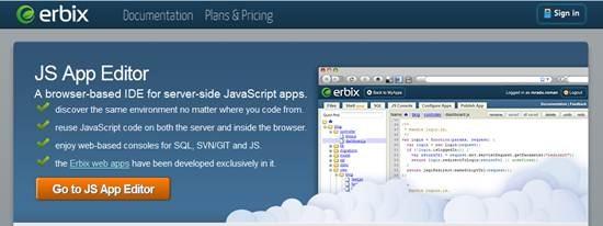 Erbix JS App Editor - Best Cloud-Based IDEs
