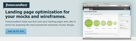 Fivesecondtest landing page optimization tool