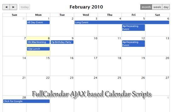 FullCalendar AJAX based Calendar Scripts