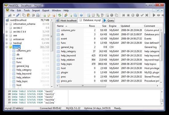 HeidiSQL - free MySQL front-end