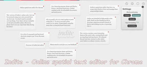 Indite - Online spatial text editor for Chrome