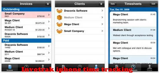 Invotrak iPhone Time tracking Apps