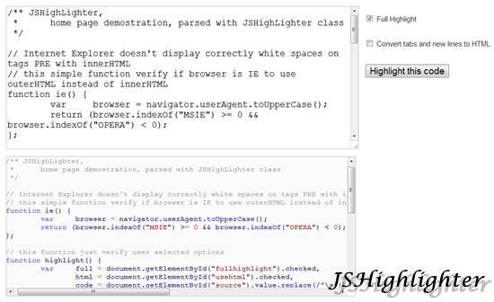JSHighlighter 11 useful JavaScript syntax highlighter