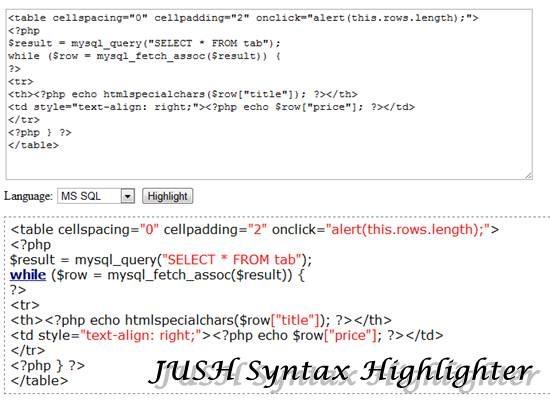 JUSH 11 useful JavaScript syntax highlighter
