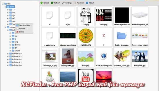 KCFinder - Free PHP based web file manager