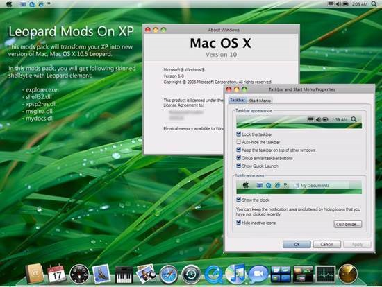 Leopard_Mods_On_XP 55 most Beautiful free Window XP Themes and Visual Styles