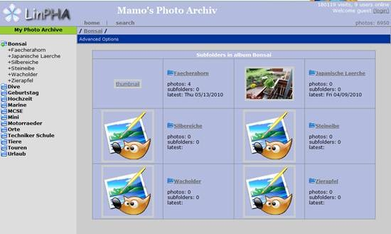 LinPHA - PHP based image gallery