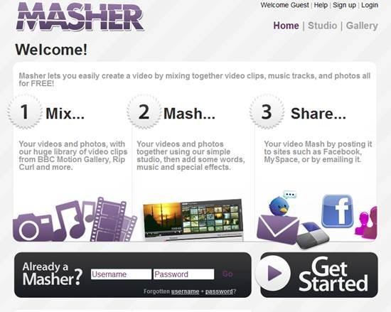 Masher web based video editing tool
