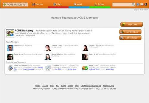 Mindquarry 17 open source wiki software for Teams