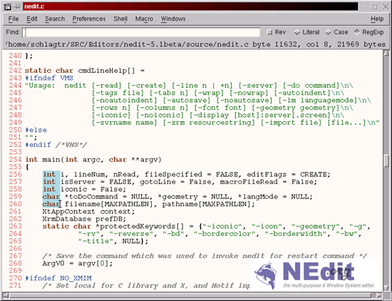 NEdit - Multi purpose text editor for X Window System