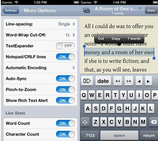 Nebulous Notes Dropbox Text Editors for iPhone