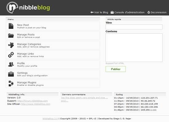 NibbleBlog databaseless blogging engine