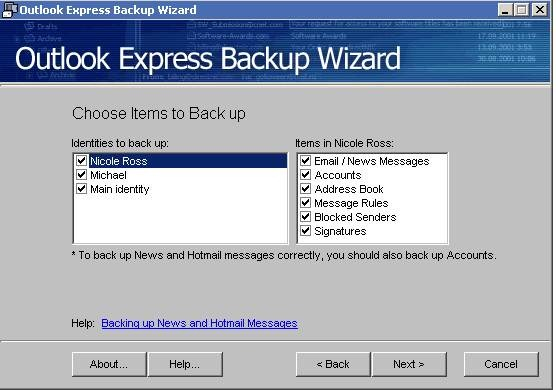 Outlook Express Backup Wizard