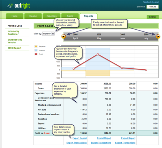 Outright  small business accounting software