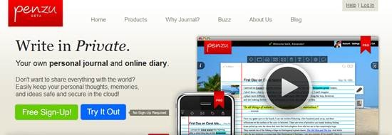 Penzu - personal journal and online diary