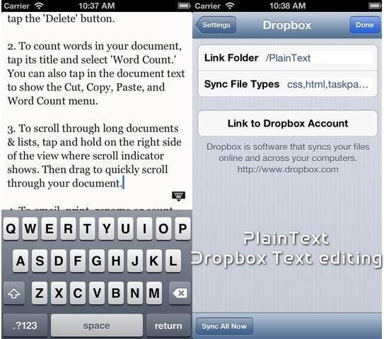 PlainText Dropbox Text Editors for iPhone