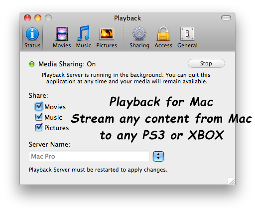 Playback for Mac - Stream any content from Mac to any PS3 or XBOX 360