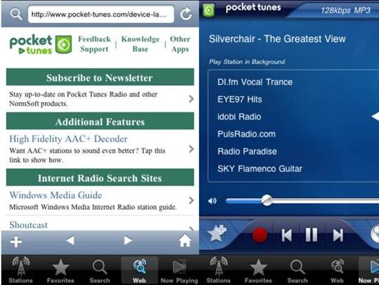 Pocket Tunes Radio Apps for iPhone