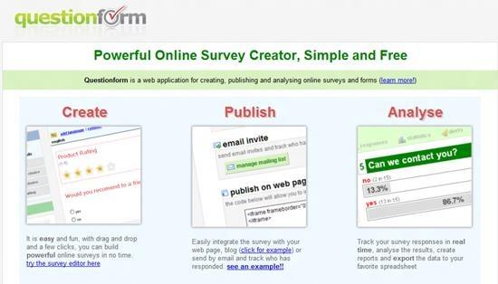 Questionform Best online survey tools
