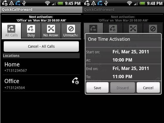 QuickCallForward android apps