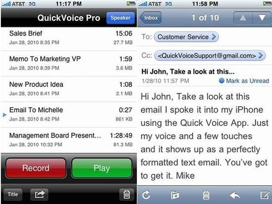 QuickVoice2Text Email