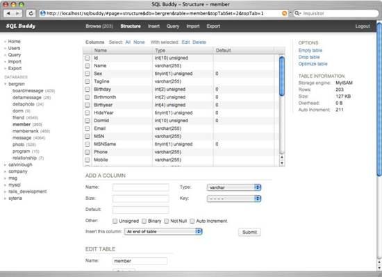 SQL Buddy – Web based MySQL admin with Ajaxed Interface