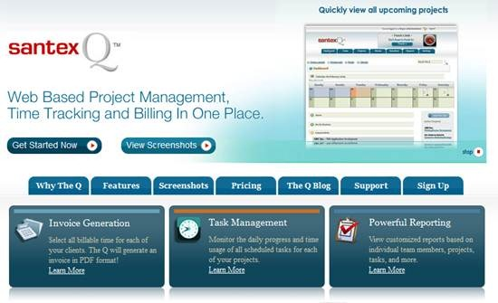 SantexQ task management and time tracking tool