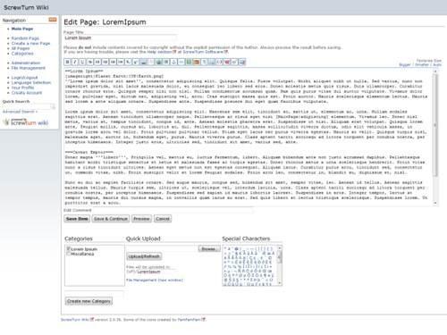 Free databaseless ASP.NET Wiki engine - ScrewTurn Wiki