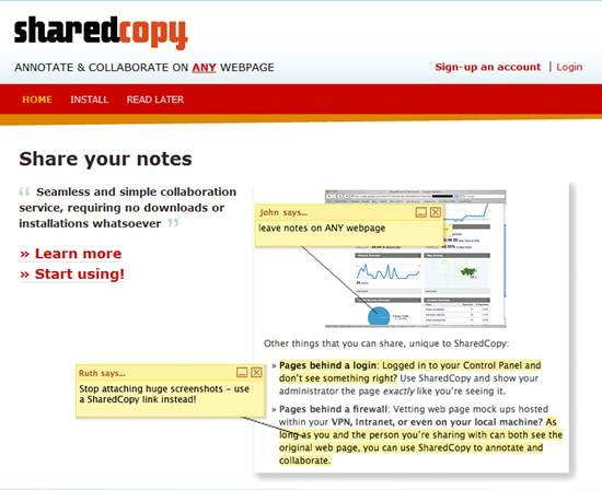 SharedCopy – AJAX based web annotation and collaboration tool for