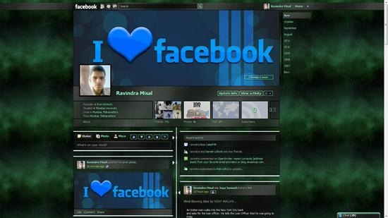 Shiny Green Galaxy theme for facebook timeline