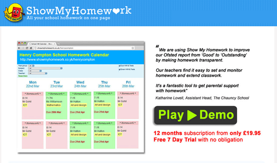 Show My Homework online school homework calendar