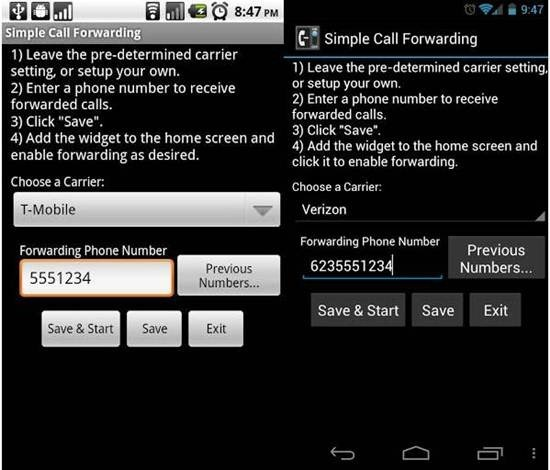 Simple Call Forwarding apps
