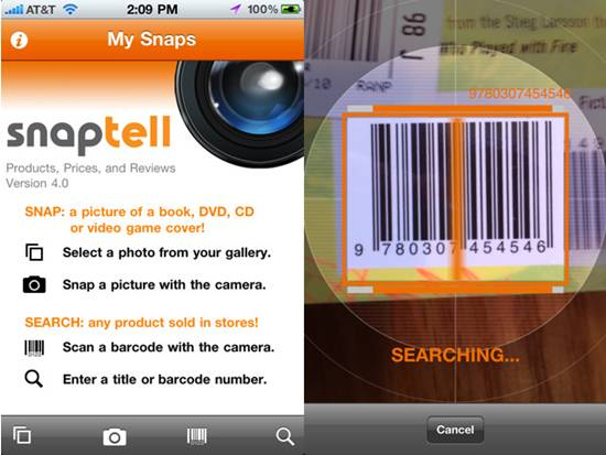SnapTell 18 free Mobile Shopping Apps for smartphone