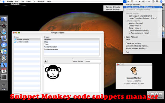 Snippet Monkey Top 10 Code Snippets manager for Mac