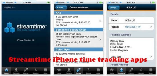 Streamtime iPhone Time tracking Apps